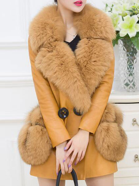 Faux Fur Coat Women's Yellow Long Sleeve PU Leather Turndown Collar Button Winter Coat With Pockets