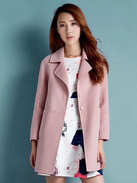 Women's Winter Coat Long Sleeve Pockets Wool Blend Casual Cocoon Coat