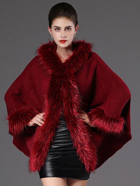 Hooded Winter Coat Faux Fur Long Sleeve Open Front Luxurious Cape Coat For Women