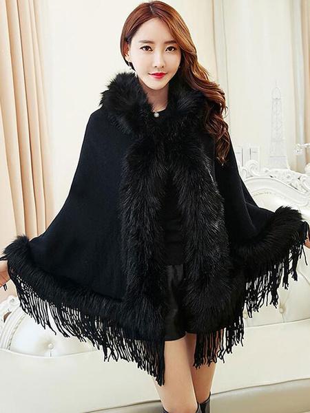 Women's Winter Coat Faux Fur Tassels Hooded Sweater Cape Coat