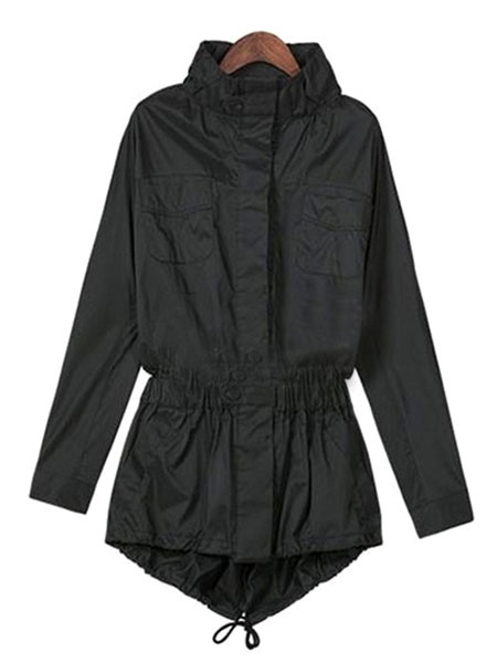 Women's Black Coat Hooded Pockets Drawstring High Low Winter Coat
