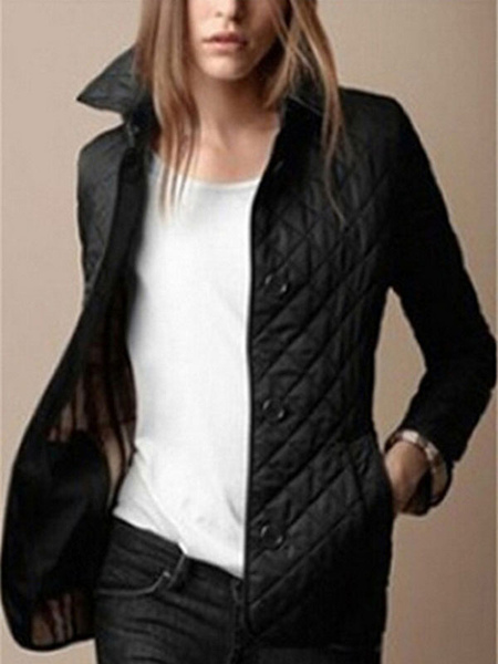 Short Winter Coat Women's Turndown Collar Buttons Slim Fit Padded Coat