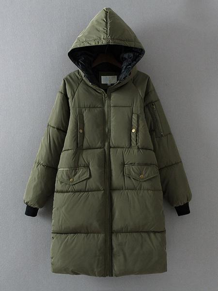 Hooded Winter Coat Pockets Zippers Women's Oversized Quited Coat