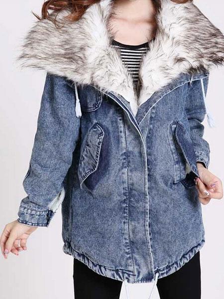 Blue Denim Coat Faux Fur Collar Women's Oversized Lined Winter Coat