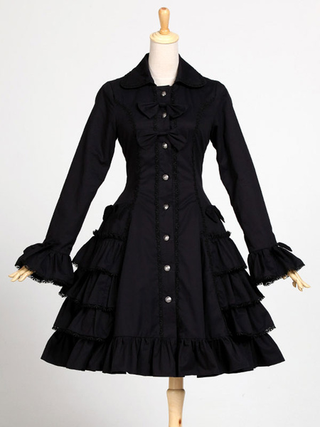 Gothic Lolita Dress OP One Piece Cotton Long Sleeve Bow Ruffle Layered Black Lolita Dress