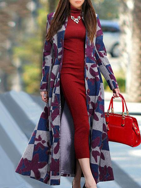 Long Winter Coat Women's Stand Collar Long Sleeve Slim Fit Jacquard Wool Coat