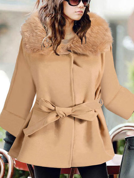 Khaki Winter Coat Women's Long Sleeve Faux Fur Hooded Wrap Coat With Sash