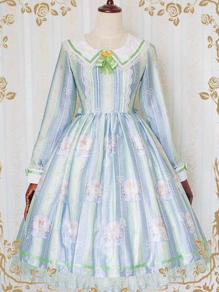 Classic Lolita Dress OP Little Angel Reciting Blessing Poem Sailor Collar Lace Chiffon Printed One P