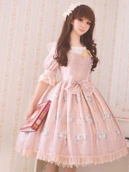 Classic Lolita Dress OP Big Bow Half Sleeve Little Angel Reciting Blessing Poem Lace Chiffon Printed