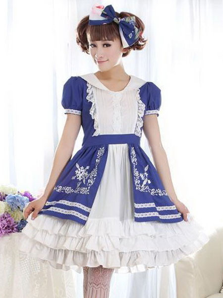 Sweet Lolita Dress OP Dream Cross Rose Embroidery Blue Ruffle Layered Turndown Collar Short Sleeve L