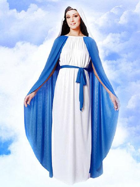 Virgin Mary Costume Halloween Goddess Costume Outfits White Maxi Dress
