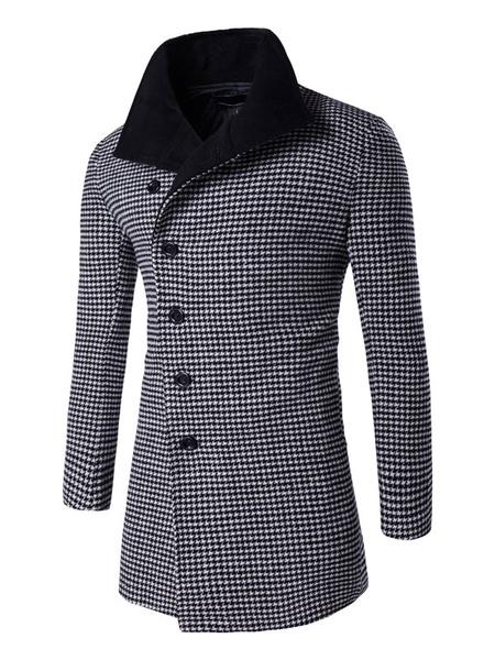 Men's Winter Coat Oblique Button Causal Houndstooth Coat