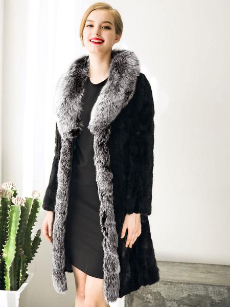 Black Winter Coat Faux Fur Women's Contrast Color Oversize Wrap Coat