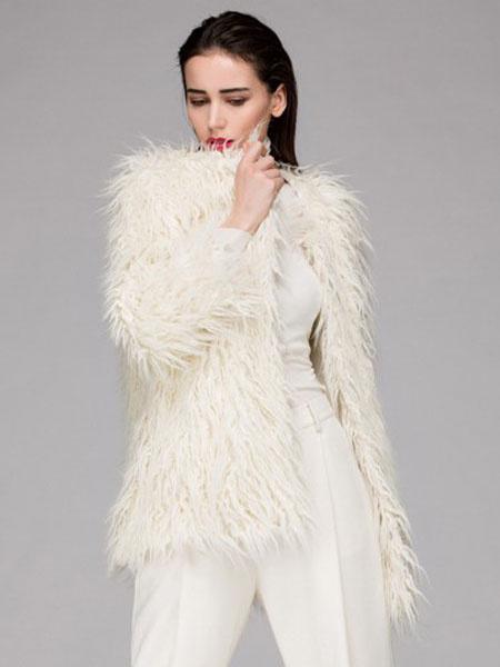 Faux Fur Coat Ivory Jewel 3/4-Length Sleeve Oversized Winter Coat