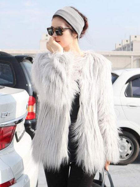 Faux Fur Coat Women's Long Sleeve French Hook Winter Coat In Light Gray