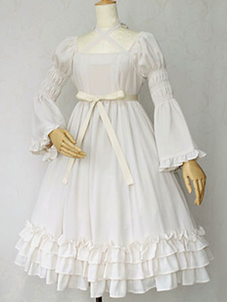 Sweet Lolita Dress OP Cotton Ivory Hime Long Sleeve High Waisted Lace Ruffled Bow Cross Front Lolita