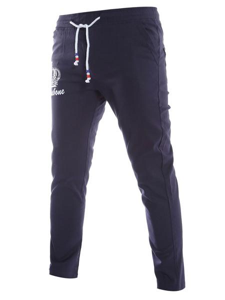 Men's Casual Pants Crown Print Drawstring Cotton Straight Pants