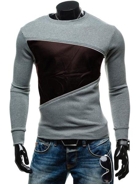 Men's Grey Sweatshirt Contrast Color Round Neck Cotton Sweatshirt