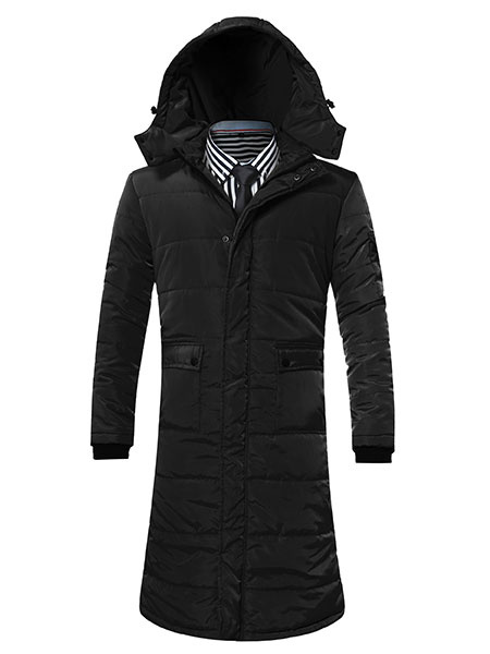 Black Winter Coat Men's Hooded Long Sleeve Quilted Coat