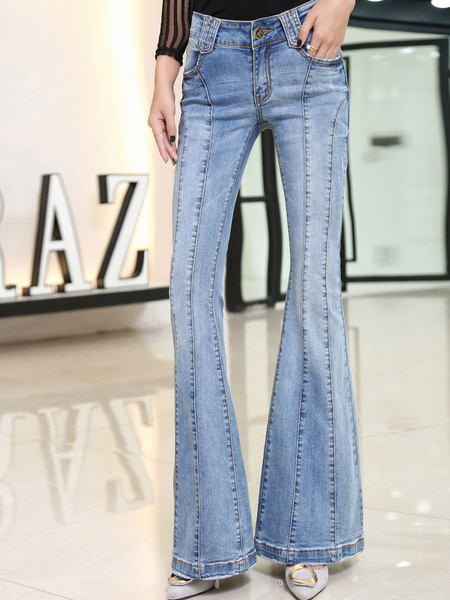 Women's Denim Jeans Light Blue Shaping Flare Jeans