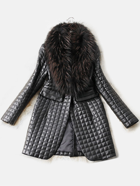 Women's Quilted Coat Black Leather Winter Coat With Faux Fur Collar