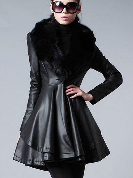 Black Leather Coat Flared Waisted Winter Coat Women's Irregular Overcoat With Faux Fur Collar