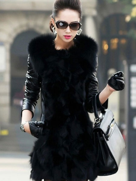 Black Winter Coat Faux Fur Long Sleeve Turndown Collar Slim Fit Coat