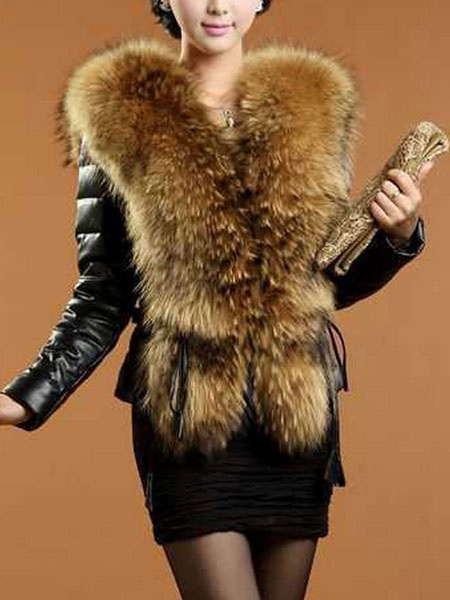 Black Leather Coat With Faux Fur Collar Women's Long Sleeve Hook And Eye Short Winter Coat