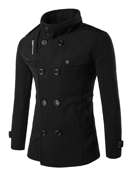 Men's Pea Coat Double Breasted Wool Blend Winter Coat