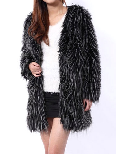 Faux Fur Winter Coat Black V Neck Long Sleeve Oversized Winter Coat For Women