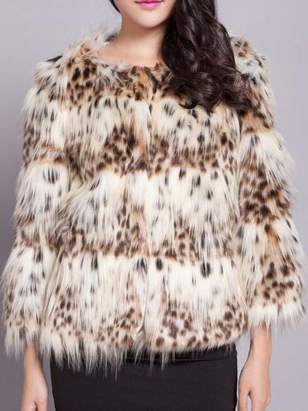 Faux Fur Coat Khaki Round Neck Half Sleeve Animal Printed Short Winter Coat
