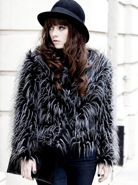 Faux Fur Coat Women's Black Round Neck Long Sleeve Slim Fit Winter Coat