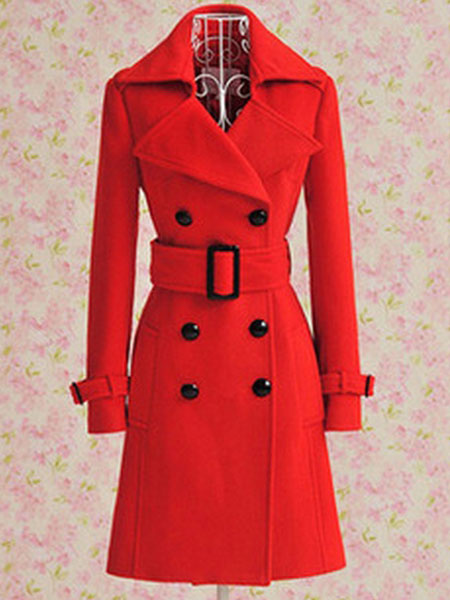 Wool Trench Coat Red Women's Double Breasted Belted Winter Coat