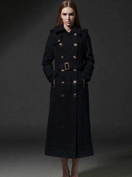 Long Trench Coat Wool Black Women's Double Breasted Fit Winter Coat