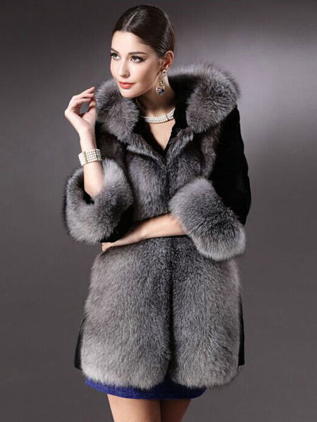Faux Fur Coat Black Hooded Women's 2-color Luxurious Winter Coat