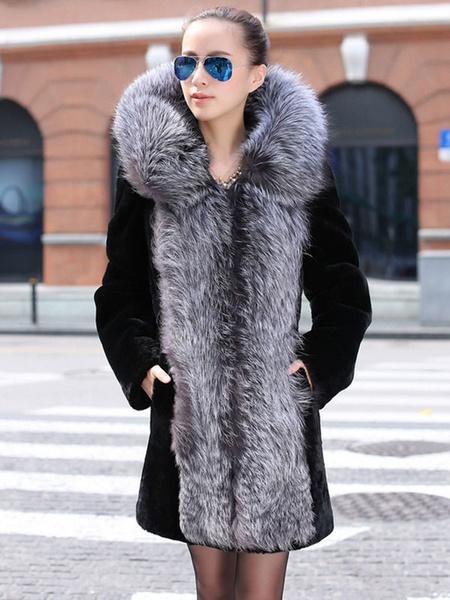 Faux Fur Coat Two Tone Hooded Long Sleeve Oversized Winter Coat For Women