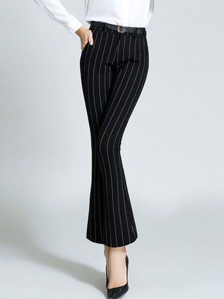Women's Black Pants Striped Slim Fit Flared Cropped Pants