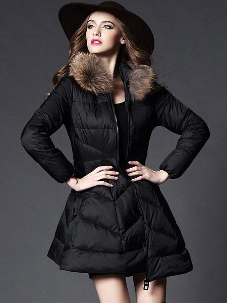 Black Down Coat A Line Zipper Up Slim Winter Coat With Faux Fur Collar For Women