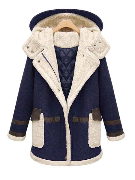 Women's Winter Coat Two Tone Hooded Long Sleeve Zip Up Women's Coat With Pockets