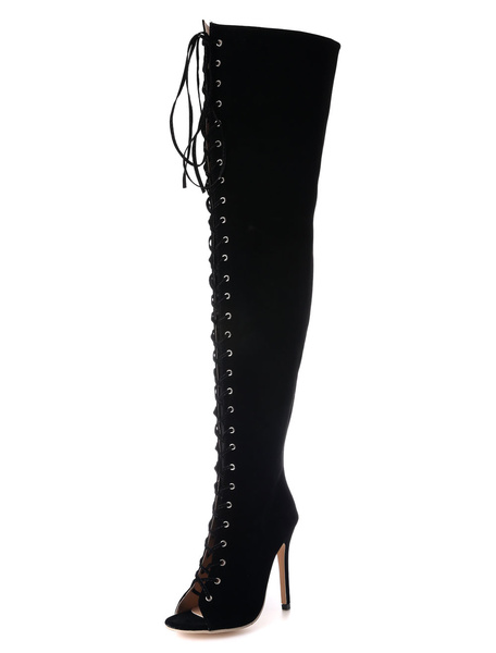 Thigh High Boots Lace Up Peep Toe High Heel Over The Knee Boots Women's Suede Black High Boots