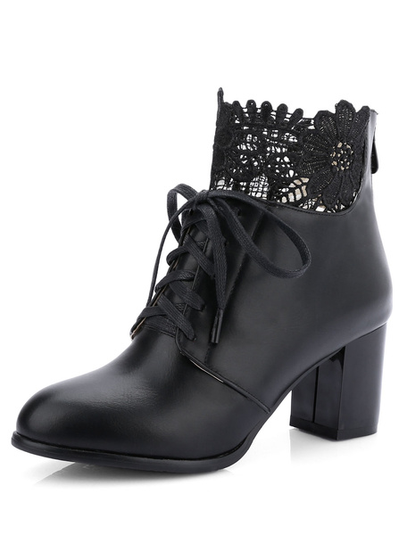 High Heel Booties Black Pointed Toe Short Boots Women's Lace Up Chunky Heel Lace Top Ankle Boots Wit