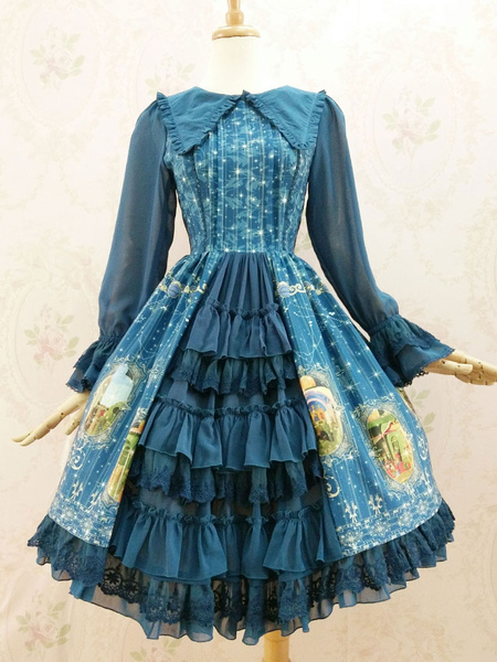 Sweet Lolita Dress OP Chiffon Deep Blue Printed Turndown Collar Bell Long Sleeve Ruffle Lolita One P