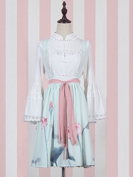 Sweet Lolita SK Suit Qi Lolita Blouse And Lotus Print Skirt Outfits With Sash