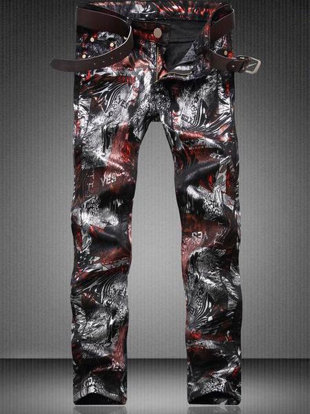 Printed Denim Jeans Black Men's Skinny Leg Jeans