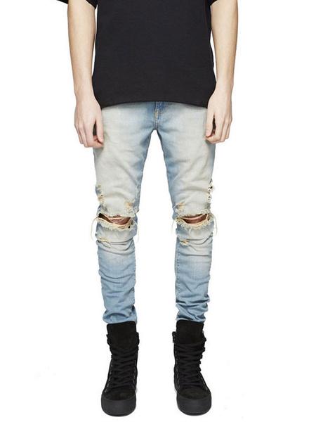 Men's Denim Jeans Light Blue Skinny Leg Ripped Jeans