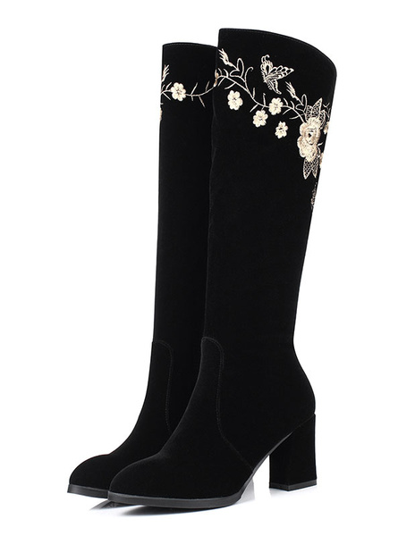 Black Knee High Boots Suede High Heel Winter Boots Women's Embroidered Chunky Heel High Boots With Z