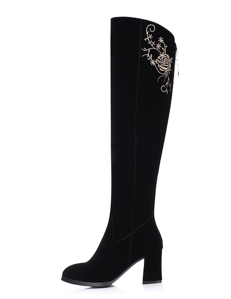 Suede Knee High Boots High Heel Black Winter Boots Chunky Heel Zipper Embroidered High Boots For Wom