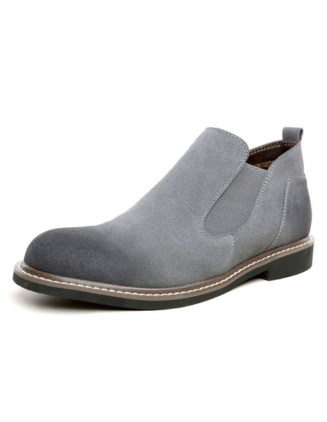 Men's Chelsea Boots Grey High Top Distressed Ankle Boots