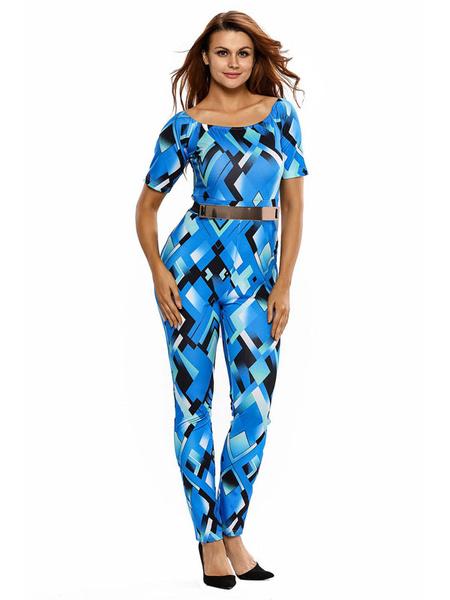 Women's Blue Jumpsuit Scoop Neck Short Sleeve Geometric Print Skinny Leg Jumpsuit
