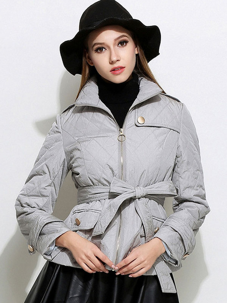Grey Quilted Coat Women's Turndown Collar Zipper Up Short Belted Coat With Contrast Pockets